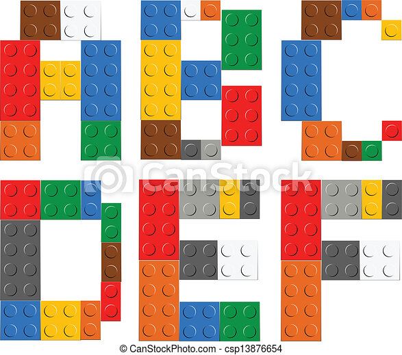 Playing brick toy alphabet letters - csp13876654