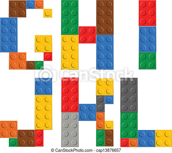 Playing brick toy alphabet letters - csp13876657