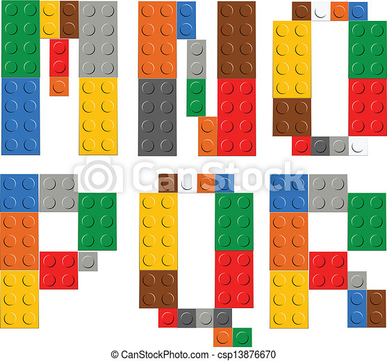 Playing brick toy alphabet letters - csp13876670