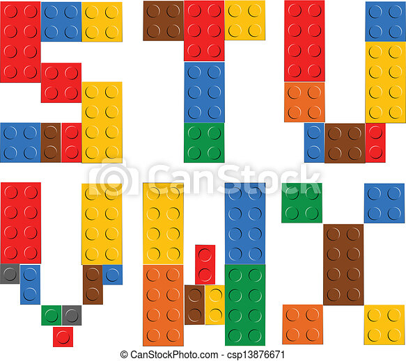 Playing brick toy alphabet letters - csp13876671
