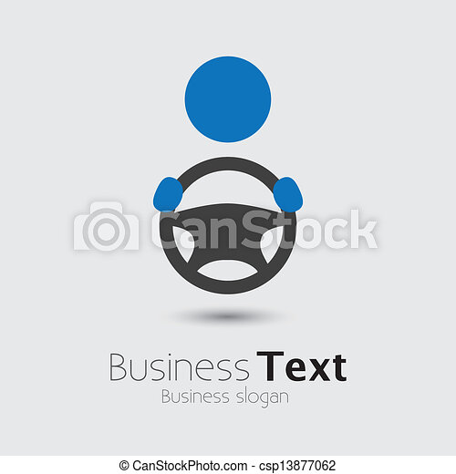 Car, vehicle or automobile driver icon or symbol- vector graphic. The illustration shows a cabbie icon with his hand holding the steering wheel and space for business text and business slogan - csp13877062