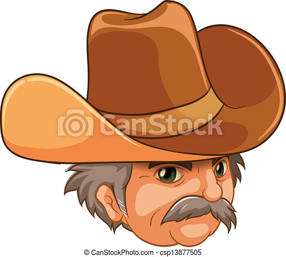 Vector Clipart of An old man wearing a cowboy hat - Illustration ...