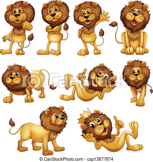Clip Art Lions Clipart lion vector clipart illustrations 18777 clip art eps lions in different positions of the in