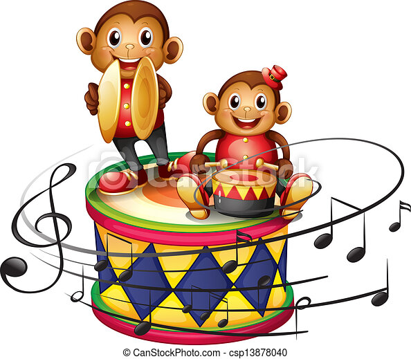Two monkeys above a big drum - csp13878040