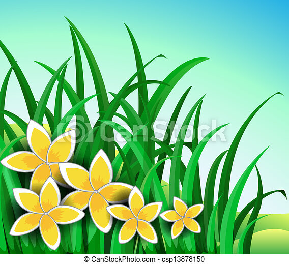 Flower Garden Drawing clipart vector of a garden with big yellow flowers - illustration