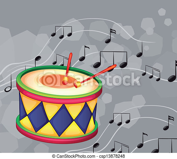 A drum with musical notes - csp13878248