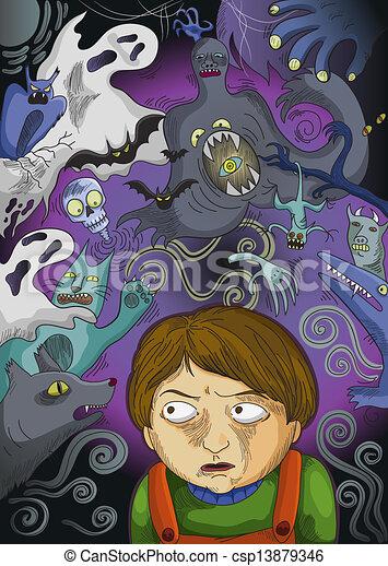 scared boy - csp13879346
