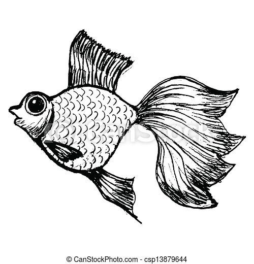 Vecteur eps de poisson rouge main dessin vecteur - Croquis poisson ...