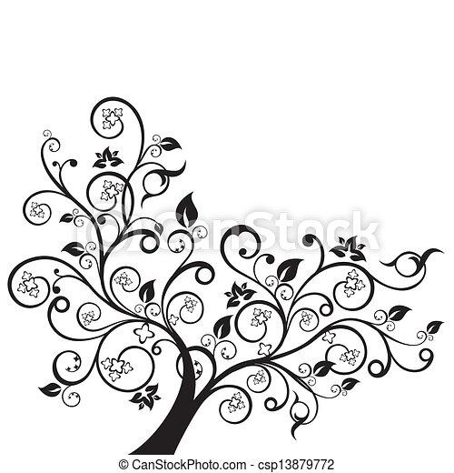 Flowers and swirls black silhouette - csp13879772