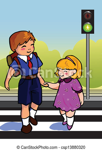 Vector Illustration of Children - Two children use a cross walk to ...