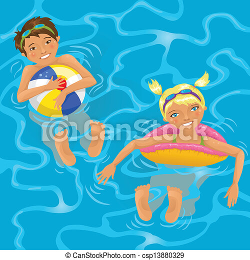 Vector illustration of two kids in water two cheerful for Swimming pool drawing