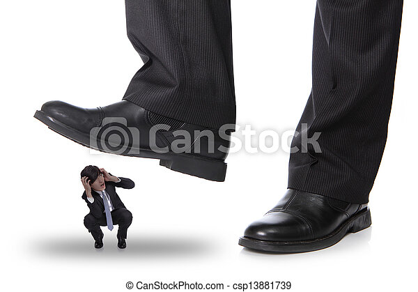 business man steping on a fear man - csp13881739