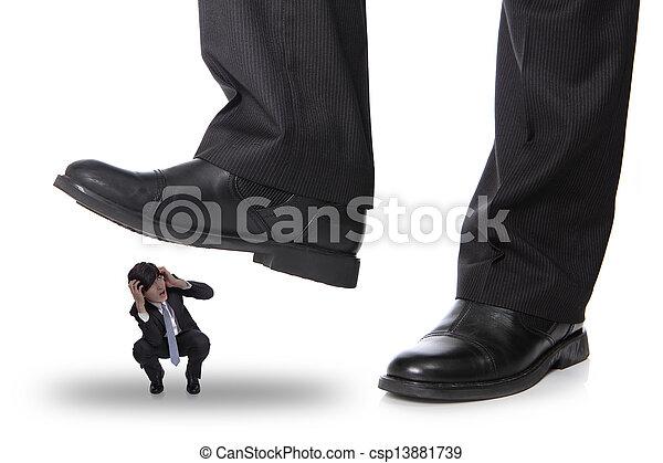 business man steping on a fear man - csp13881739