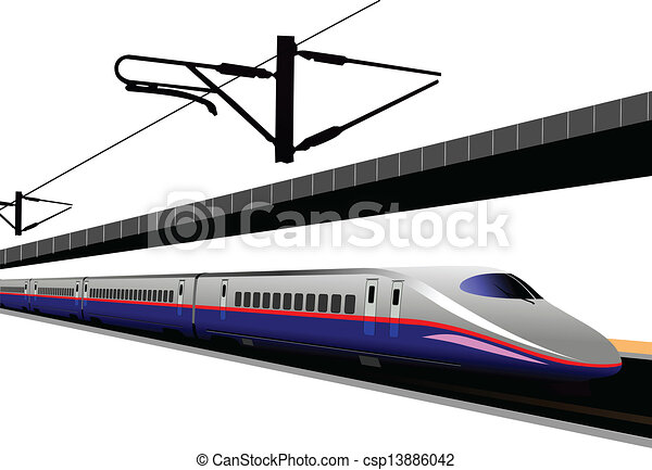 Shinkansen bullet train. Vector il - csp13886042
