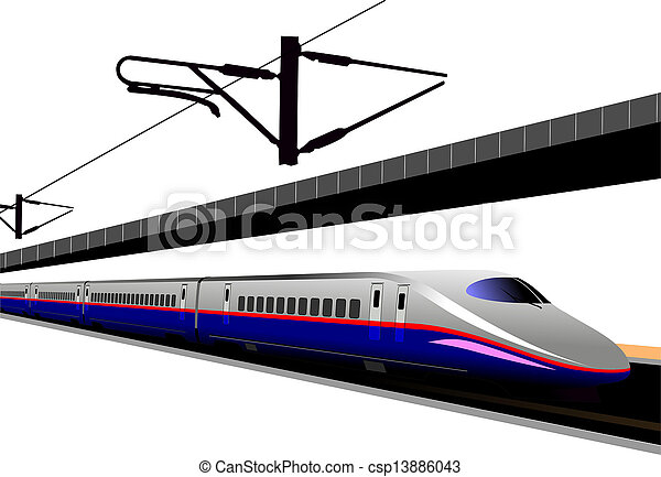 Shinkansen bullet train. Vector illustration - csp13886043