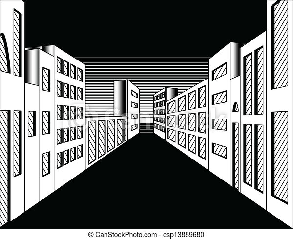 vector of black and white night city street black and