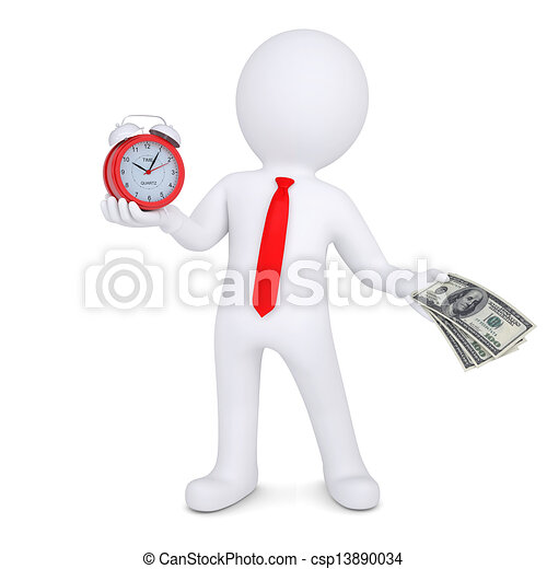 3d man changes the time on money - csp13890034