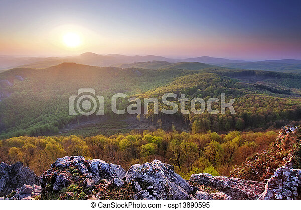 Forest mountain sunset - csp13890595