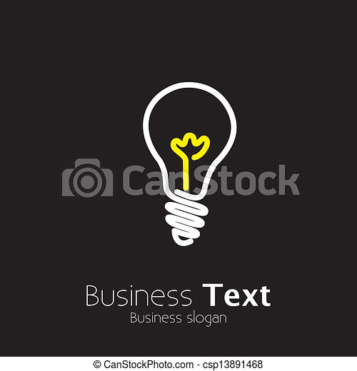Bright lightbulb icon symbol on black background- vector graphic. This illustration represents idea generation, innovative mind, genius thinking, creative thought process, problem solving, etc - csp13891468