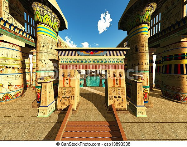 Drawings of egyptian temple egyptian columns in a temple for Mural egipcio