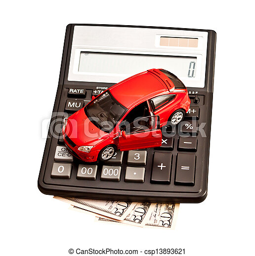 Toy car and calculator over white. Concept for buying, renting, insurance, fuel, service and repair costs  - csp13893621