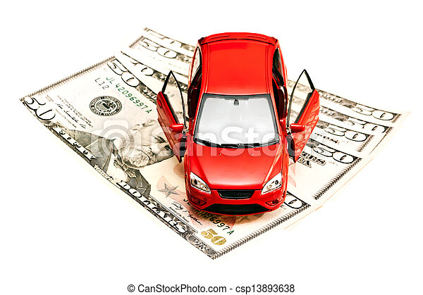 Car and money. Concept for buying, renting, insurance, fuel, service and repair costs - csp13893638