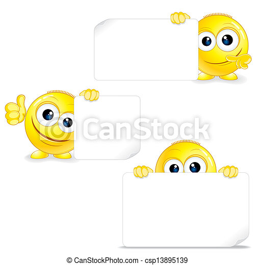 Funny Smiley with Sign and Thumb Up. - csp13895139