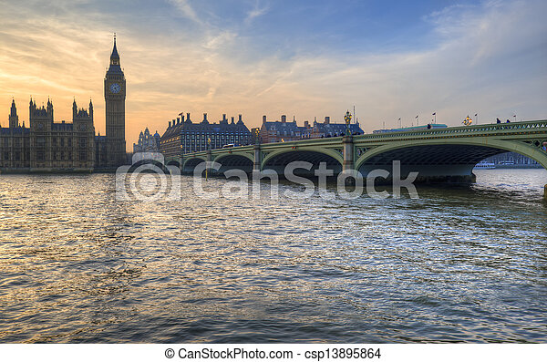 Big Ben and Westminster Bridge during Winter sunset. - csp13895864