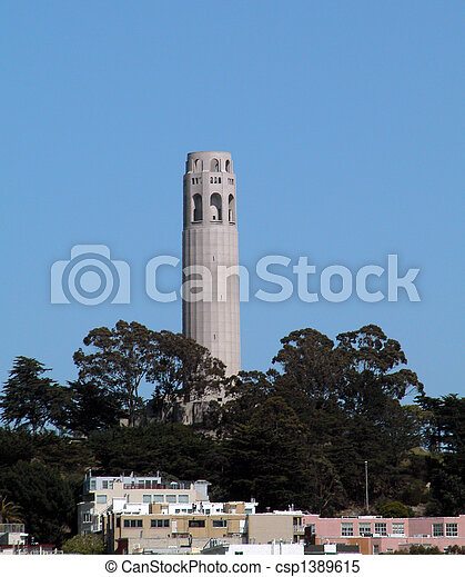 Coit Tower is a landmark in San Francisco. - csp1389615