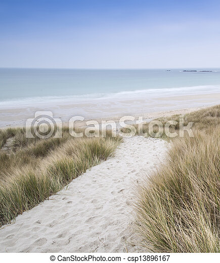 Sandy path leads down through dunes to beautiful golden beach at sunset - csp13896167