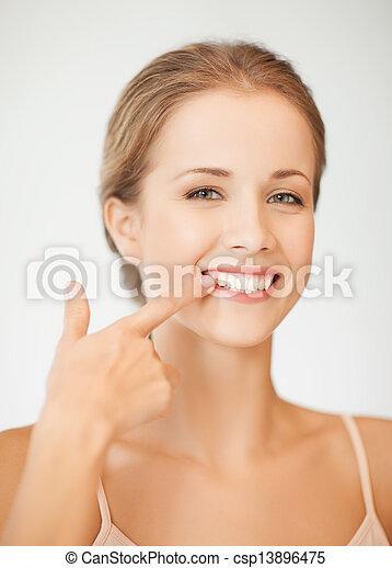 顯示, 婦女, 她, 牙齒 - csp13896475