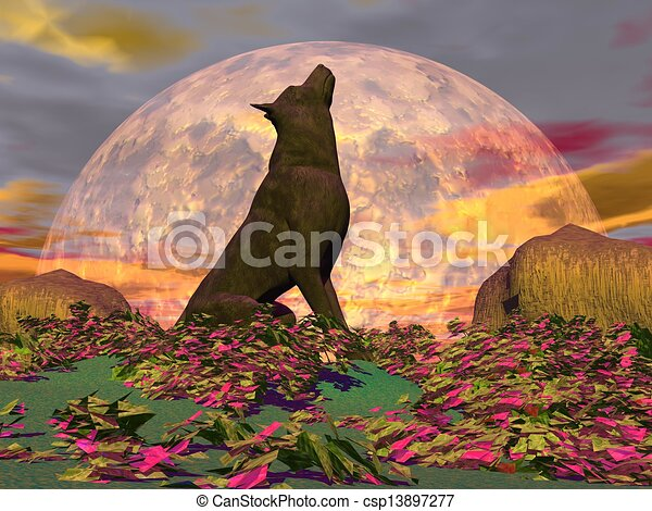Wolf howling in the nature with surrealistic plants in front of the