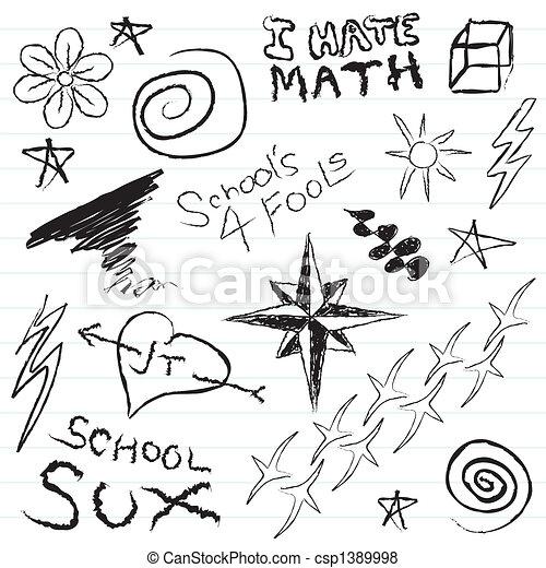 School Notebook Doodles - csp1389998