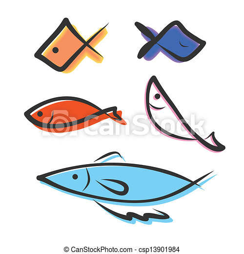 Vector Of Hand Drawing Icon Fish - Vector Hand Drawing Icon Fish Image Csp13901984 - Search Clip ...