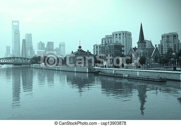 Shanghai landmark skyline at New city landscape - csp13903878