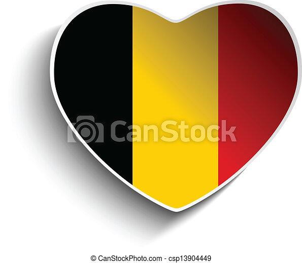 Belgium Flag Heart Paper Sticker - csp13904449