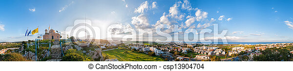 Profitis Elias Church and panoramic view of Protaras - csp13904704