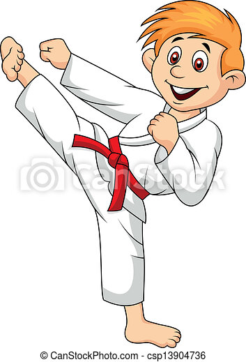 Boy cartoon doing martial art - csp13904736