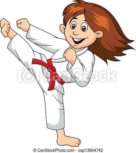 Girl cartoon doing martial art - csp13904742