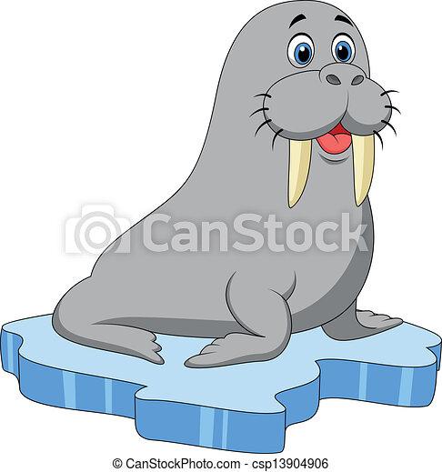 Cute walrus cartoon on ice - csp13904906