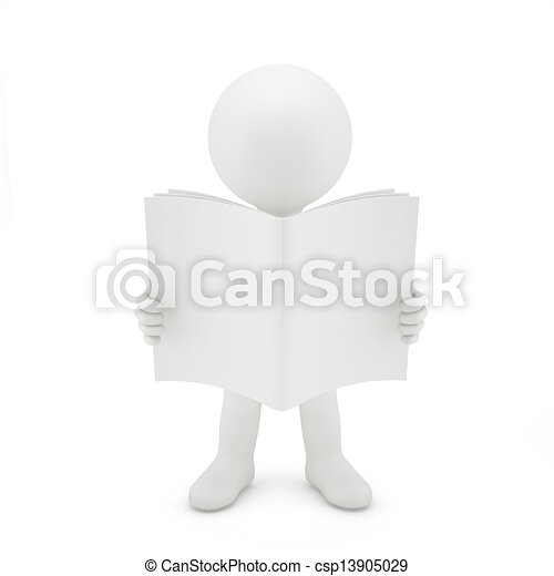 3D man reading a book. - csp13905029
