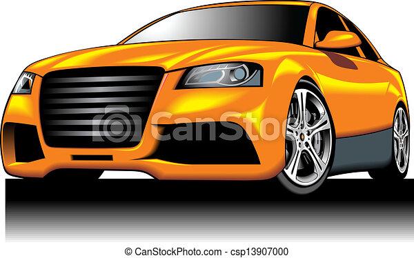 Clipart Vecteur de (my, couleur, voiture, jaune, design ...