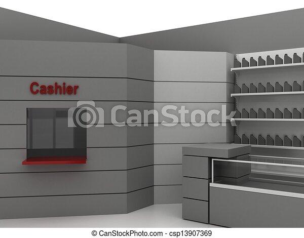 Illustration of automobile store - minimarket - csp13907369