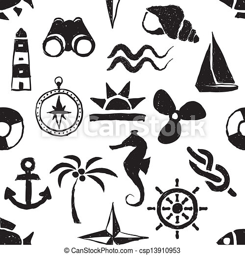 Clip Art Marine Clipart clipart vector of seamless doodle marine pattern csp13910953 pattern