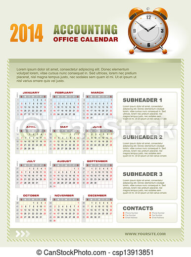 2014 Accounting Calendar with week numbers vector - csp13913851