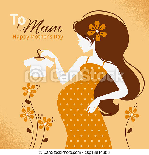 Vector of Vintage background with silhouette of beautiful ...