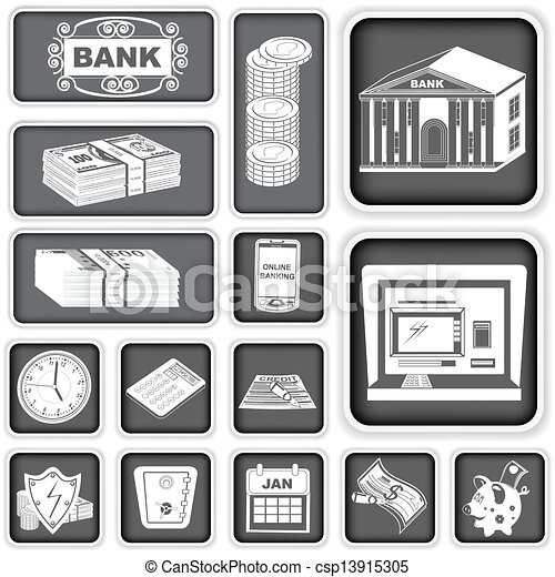 finance banking squared icons - csp13915305