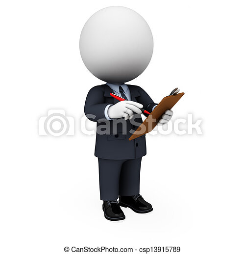 3d white people as business man - csp13915789