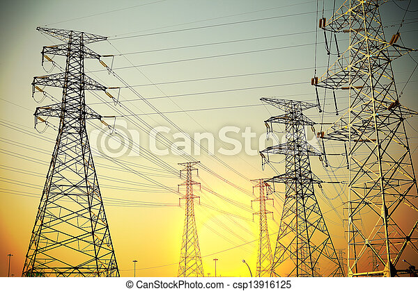 The power transmission towers of sky background - csp13916125