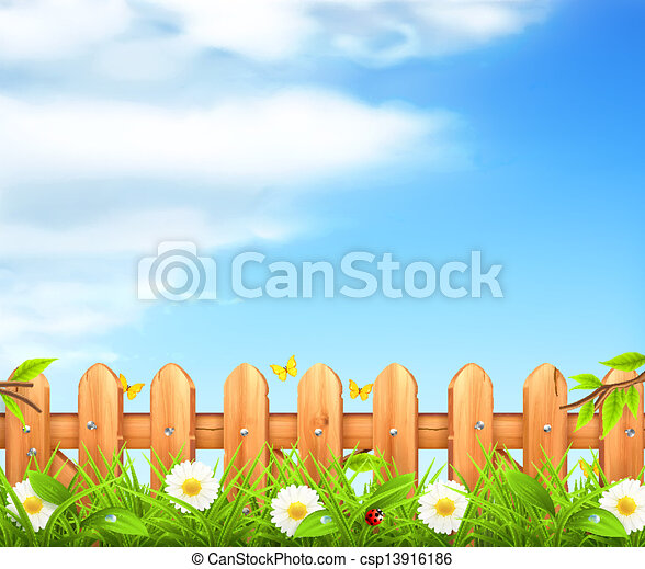 Spring background, grass and wooden fence vector - csp13916186